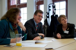 (L-R) Julie Morgan AM, Peter Black AM and Jocelyn Davies AM at the event.