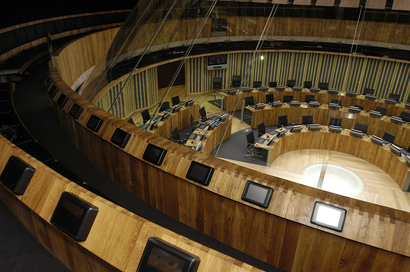 A picture of the debating chamber of the Senedd