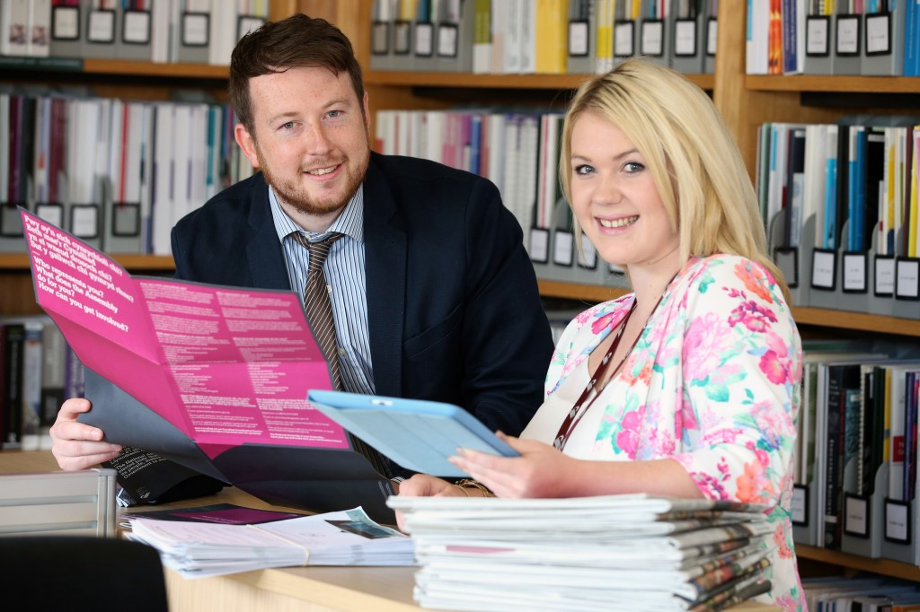 Our apprentice Lori with a member of HR in the Assembly library