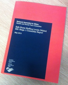 "Photo of the front cover of ""Safe Nurse Staffing Levels (Wales) Bill: Stage 1 Committee Report"""