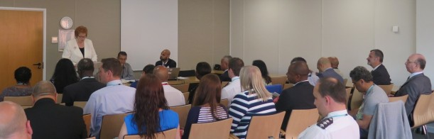 The Presiding Officer addresses delegates at the BME staff event