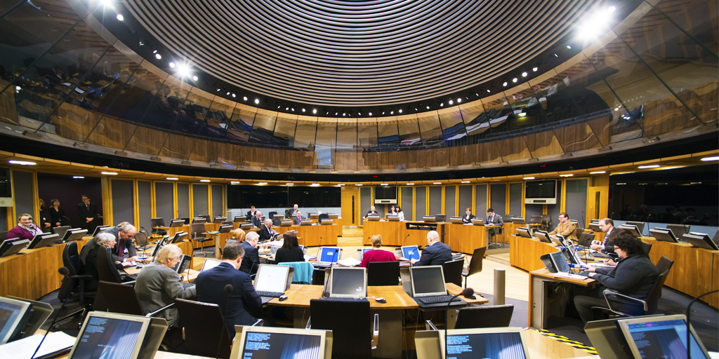 Senedd during Plenary showing AMs in their seats