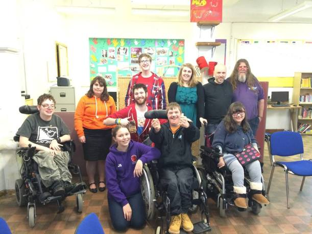 Photograph of members of the Mixed Up Group, a group of disabled young people from Swansea