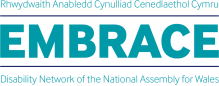 logo for embrace, the Assembly's disability workplace network