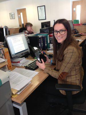 Ffion at a translators desk