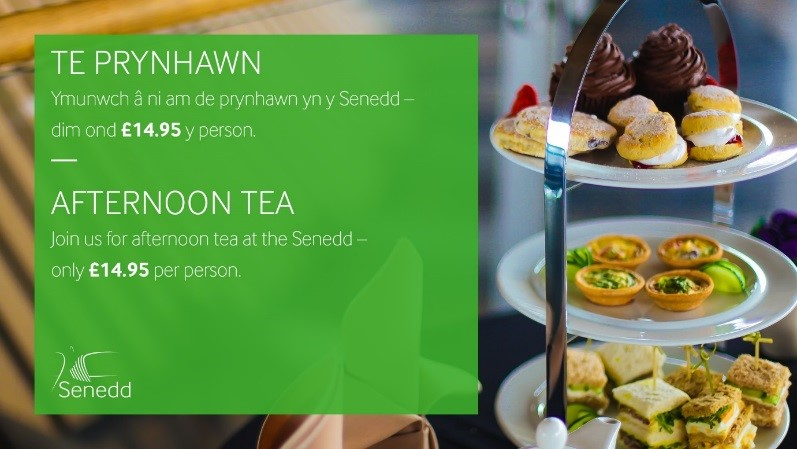 Cake stand with sandwiches and cakes. Text reads: Afternoon tea - Join us for afternoon tea at the Senedd, only £14.95 per person