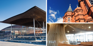 Senedd and Pierhead buildings from outside. Interior of Senedd showing the funnel and seats.
