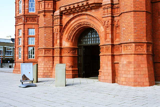 Pierhead building with open door
