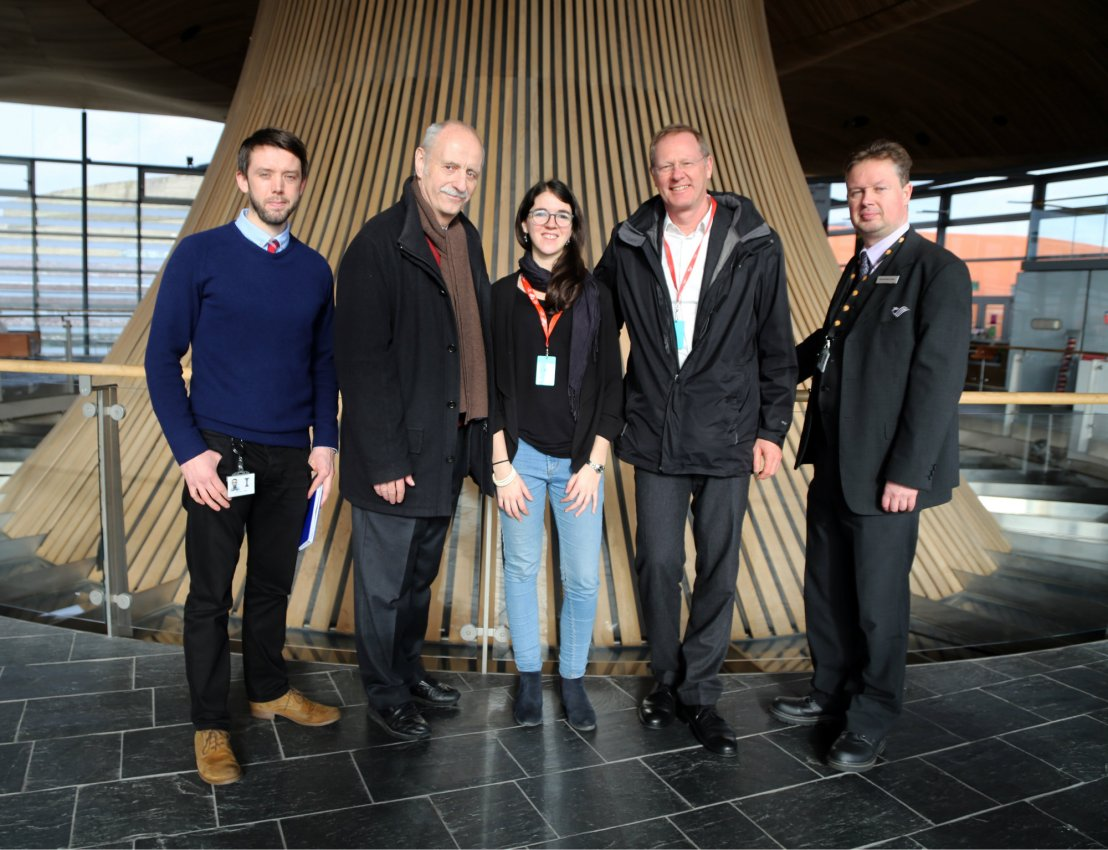 L-R Matthew Jones (Sustainability Manager), Thomas Herzog (Architect, Thomas Herzog Architects), Ester Coma Bassas (Architect, Welsh School of Architecture), Werner Lang (Architect, University of Munich), Richard Gwyn Jones (Visitor Tour Manager)