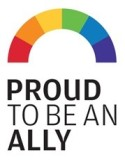 Logo with a rainbow that reads Proud to an Ally