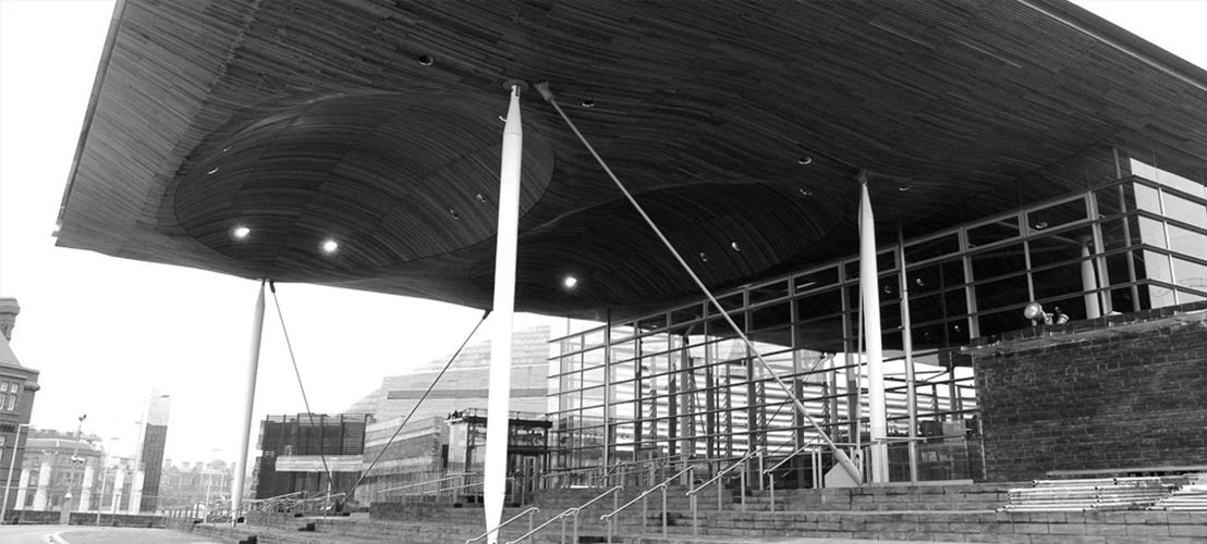 The Senedd building in Cardiff Bay, Wales
