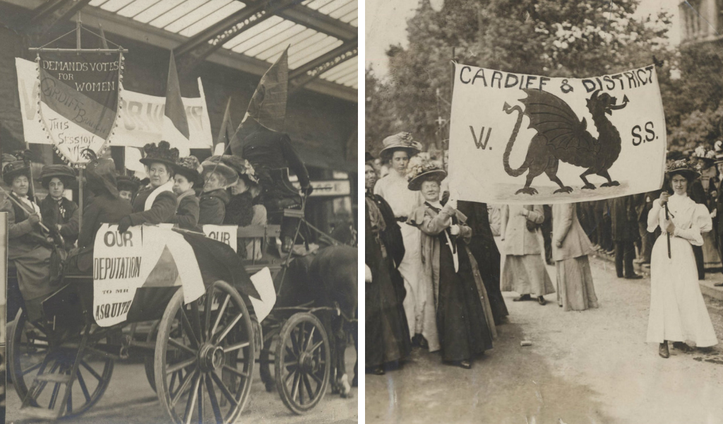 L-R: Women's Freedom League, Cardiff branch; Suffragette Grand March, London 1918