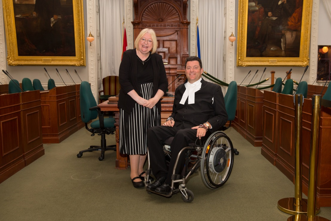 Ann Jones at the Commonwealth Parliamentary Association'sAnn Jones with Kevin Murphy, speaker of the Nova Scotia Assembly in Canada inaugural conference for parliamentarians with disabilities in Nova Scotia, Canada